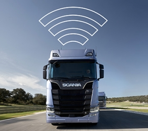 imagem veículos conectados e com pms scania fleet care